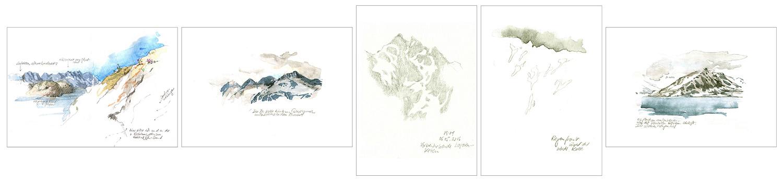 Sketchbookdiary – Svalbard, Digitaldrucke nach Tagebuchskizzen, nachbearbeitet, Bleistift, Aquarell, je 10.0 x 15.0 cm, 2016