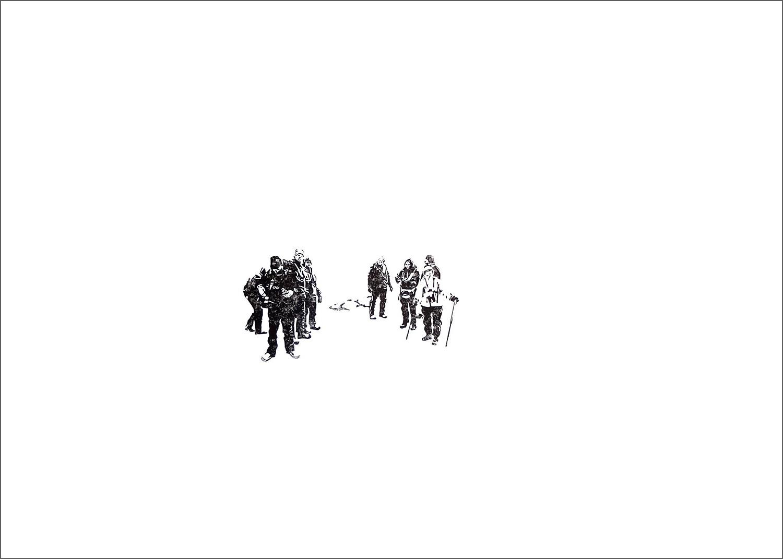 Into The White – After Landing, Linoldruck auf Papier, 50.0 x 70.0 cm, Svalbard 2016