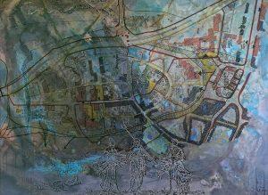 """Itzehoe-Neustadt (Bebauungsplan Nr.56)"", Acryl, Foliendruck a. Lwd., 60 cm x 80 cm, 2013"