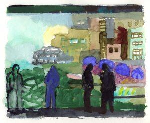 Auf der Galatabrücke, Mischtechnik, ca. 16x20 cm, 2006