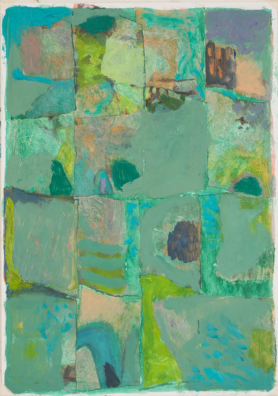 Fahrt durchs Grüne, Öl auf Papier/Collage, 30x21 cm, 2013