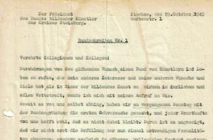 Anfang des 1. Rundschreibens vom Oktober 1945